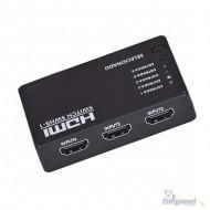 Switch Hub Hdmi 5x1 5 Entradas 1 Saída Controle Remoto 1080p